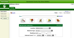 An image of the search screen for the Matthews Library online catalog.