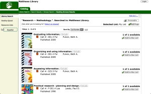 Screen capture of search results for a subject search on research methodology in the library catalog.