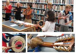 Photos from folklorist visit to library.