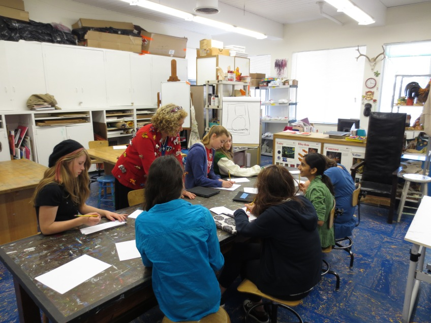 Ashley Wolff visiting the Middle School art class.