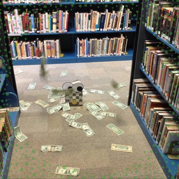 The Westing Game making it rain in the library stacks.