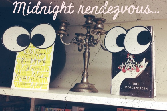 A couple books staying up past their bedtimes.