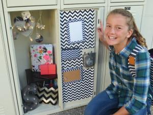 Sydney's eclectic locker is vintage inspired.