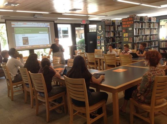 Ms. LaMay's 8th Grade English class came to learn about using the Independent Reading Sites for posting book reviews.